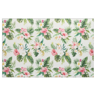 Watercolor Tropical Flowers Pattern Fabric