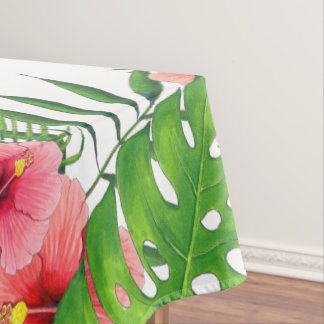 Watercolor Tropical Foliage Hawaiian Luau Party Tablecloth