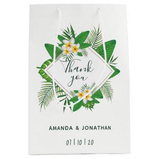 Watercolor tropical foliage Wedding Guest Favor Medium Gift Bag