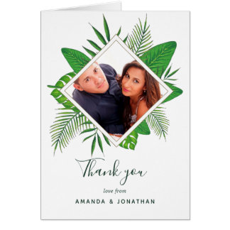 Watercolor tropical foliage Wedding photo thanks Card