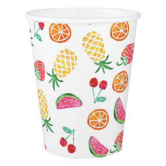 Watercolor tropical fruity party paper cups