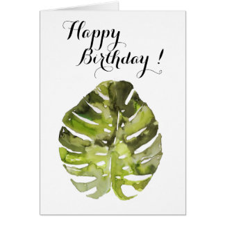 Watercolor Tropical Leaf Painting Card