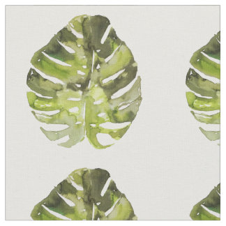 Watercolor Tropical Leaf Painting Fabric