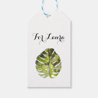 Watercolor Tropical Leaf Painting Gift Tags