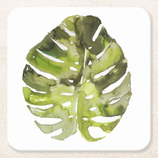 Watercolor Tropical Leaf Painting Square Paper Coaster