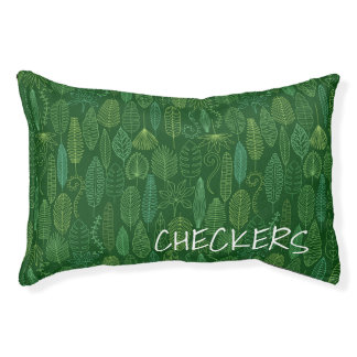 Watercolor Tropical Leaves | Add Your Name Small Dog Bed