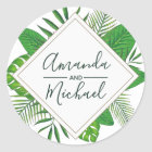 Watercolor Tropical Leaves Beach Wedding Classic Round Sticker