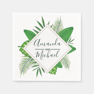 Watercolor Tropical Leaves Beach Wedding Disposable Napkin