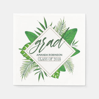 Watercolor Tropical Leaves Graduation Party Paper Napkin