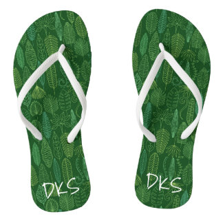 Watercolor Tropical Leaves | Monogram Flip Flops
