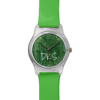 Watercolor Tropical Leaves | Monogram Watches