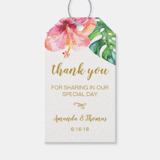 Watercolor Tropical Leaves Wedding Favor Tag