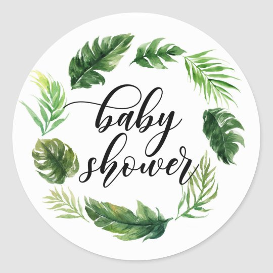 Watercolor Tropical Leaves Wreath Baby Shower Classic Round Sticker
