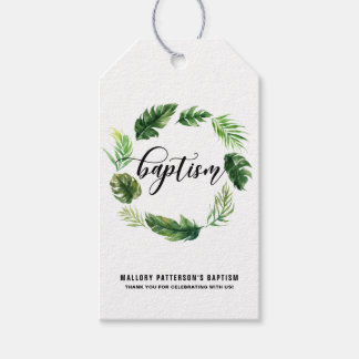 Watercolor Tropical Leaves Wreath Baptism Gift Tag