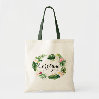 Watercolor Tropical Leaves Wreath Personalized Tote Bag
