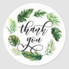 Watercolor Tropical Leaves Wreath Thank You Classic Round Sticker