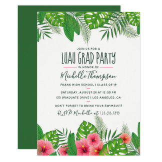 Watercolor tropical Luau Graduation Party Card