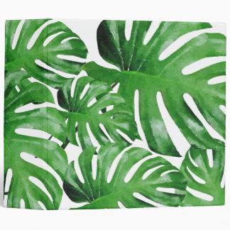 Watercolor Tropical Monstera Leaves Patterned 3 Ring Binders