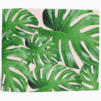 Watercolor Tropical Monstera Leaves Patterned Pink 3 Ring Binders
