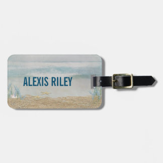 watercolor tropical ocean with starfish luggage tag