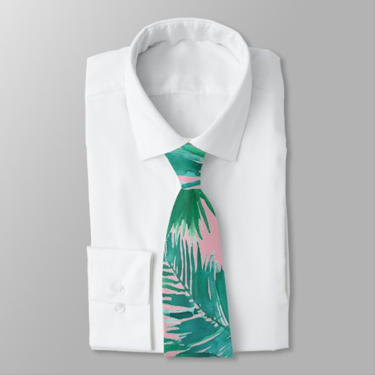 watercolor tropical palm green leaves tie