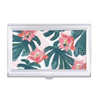 Watercolor Tropical Palm,Hawaiian Hibiskus Business Card Holder