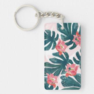 Watercolor Tropical Palm,Hawaiian Hibiskus Double-Sided Rectangular Acrylic Keychain
