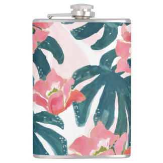 Watercolor Tropical Palm,Hawaiian Hibiskus Hip Flask