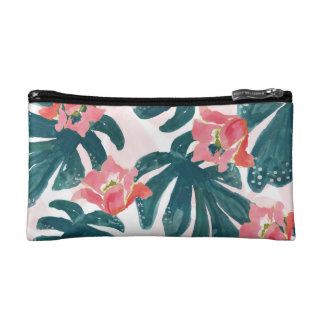 Watercolor Tropical Palm,Hawaiian Hibiskus Makeup Bag