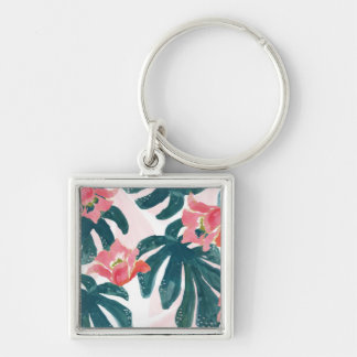 Watercolor Tropical Palm,Hawaiian Hibiskus Silver-Colored Square Keychain