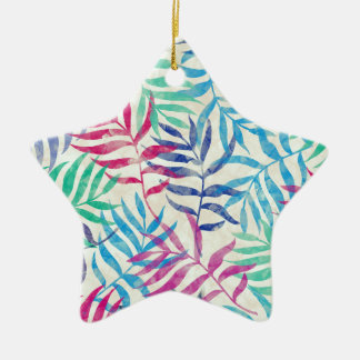 Watercolor Tropical Palm Leaves Ceramic Star Ornament