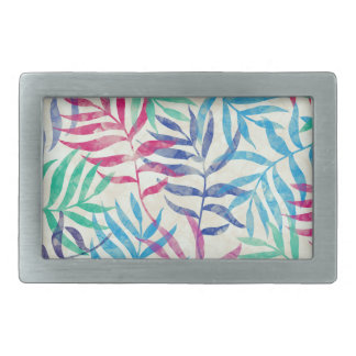 Watercolor Tropical Palm Leaves II Belt Buckles