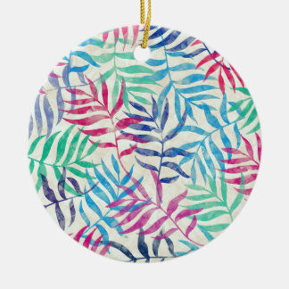 Watercolor Tropical Palm Leaves II Ceramic Ornament