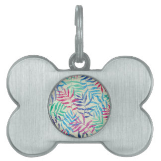 Watercolor Tropical Palm Leaves II Pet Tag
