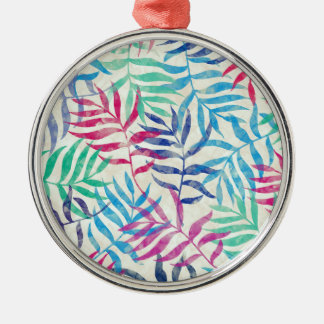 Watercolor Tropical Palm Leaves II Silver-Colored Round Ornament