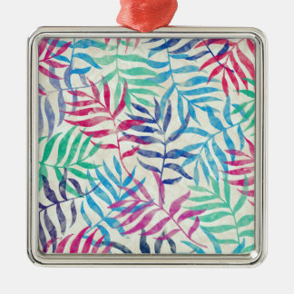 Watercolor Tropical Palm Leaves Silver-Colored Square Ornament