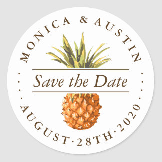 Watercolor Tropical Pineapple Save the Date Classic Round Sticker