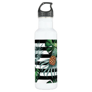Watercolor tropical pineapple with black stripes 710 ml water bottle