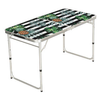 Watercolor tropical pineapple with black stripes beer pong table