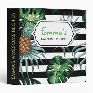 Watercolor tropical pineapple with black stripes binders