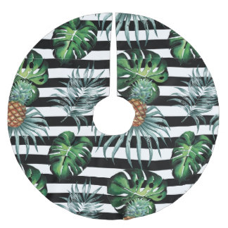 Watercolor tropical pineapple with black stripes brushed polyester tree skirt