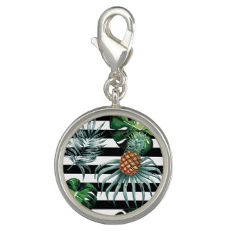 Watercolor tropical pineapple with black stripes charm
