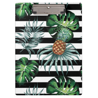 Watercolor tropical pineapple with black stripes clipboard