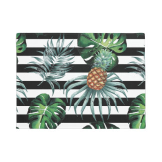 Watercolor tropical pineapple with black stripes doormat