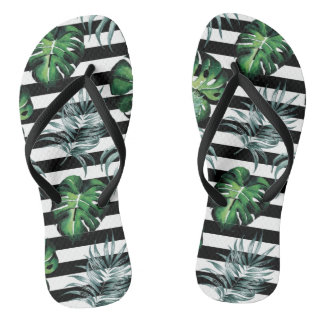 Watercolor tropical pineapple with black stripes flip flops