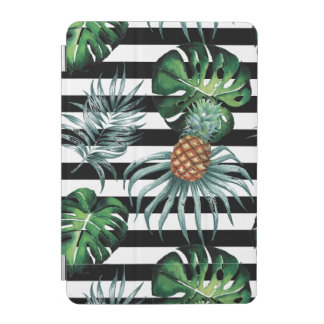 Watercolor tropical pineapple with black stripes iPad mini cover