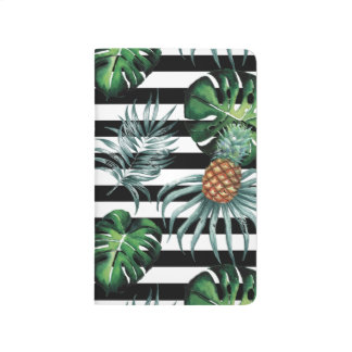 Watercolor tropical pineapple with black stripes journal