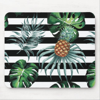 Watercolor tropical pineapple with black stripes mouse pad