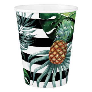 Watercolor tropical pineapple with black stripes paper cup