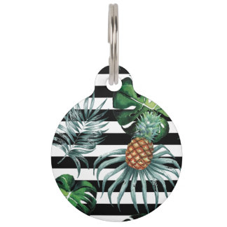 Watercolor tropical pineapple with black stripes pet ID tag